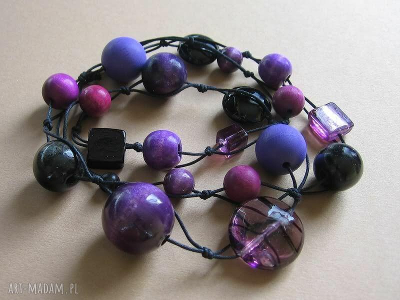 ręcznie zrobione korale magic violet - długie korale