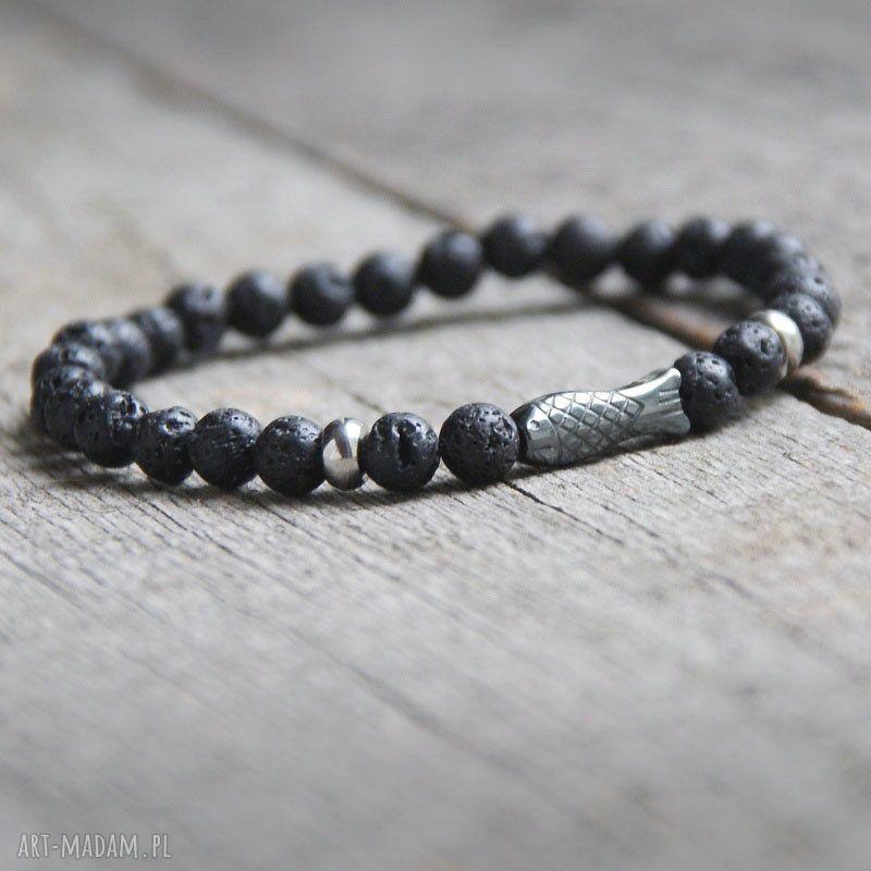 ręcznie robione męska męska bransoletka :: fish & black lava