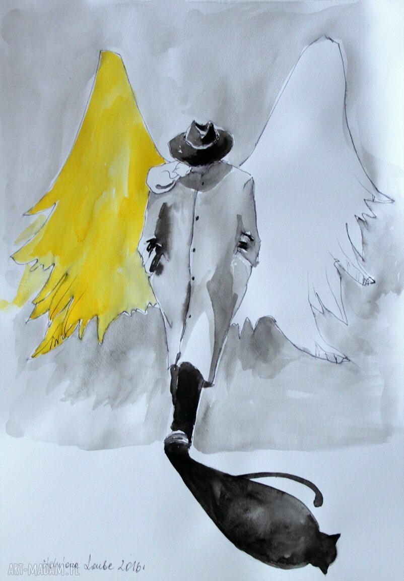 handmade grafika grafika wykonana akwarelami i piórkiem anioł w kapeluszu