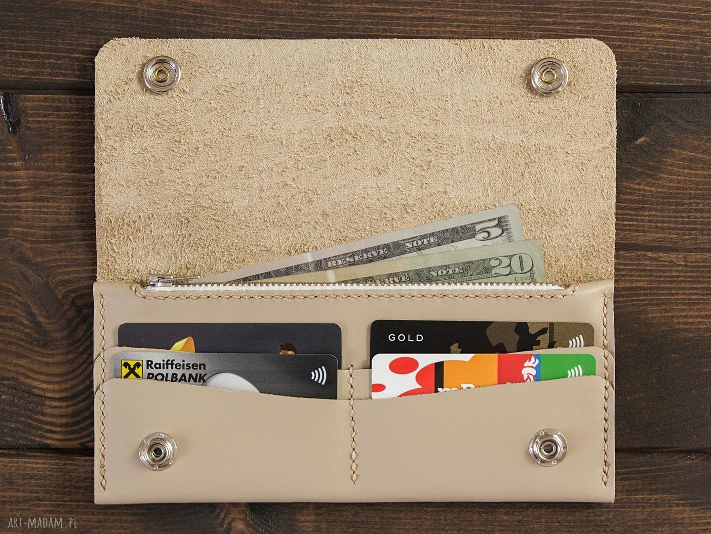 portfele damski portfel skórzany kremowy