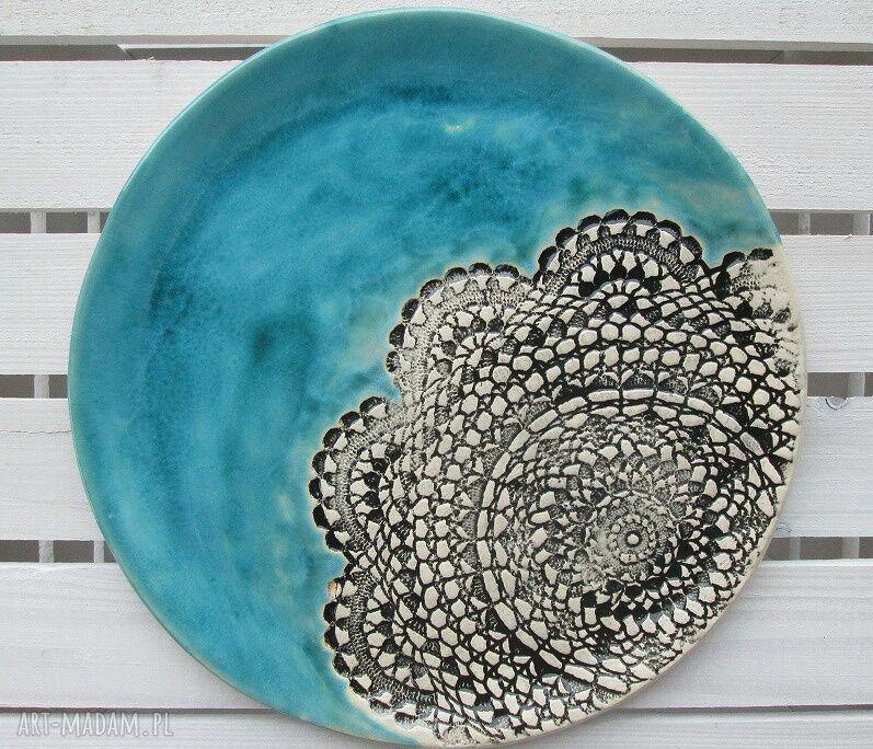handmade ceramika turkusowa z koronką