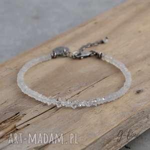 kamień księżycowy i diamenty z herkimer srebrna bransoletka, srebro