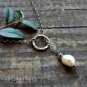 naszyjnik przekładany z perłą - srebro 925, delikatny, codzienny