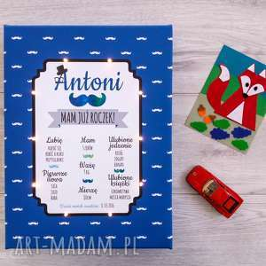 Prezent ŚWIECĄCA TABLICA URODZINOWA personalizowany prezent dla dziecka roczek