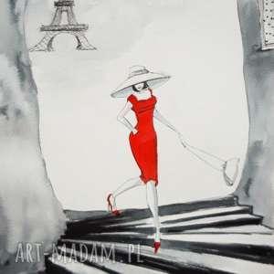 spacerując ulicami paryża akwarela z dodatkiem piórka artystki adriany laube