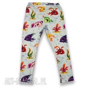 rybki miętowe spodnie dla dziewczynki z kolorowymi rybkami, legginsy dresówki