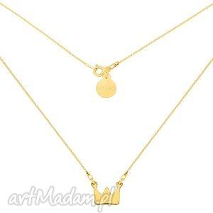handmade naszyjniki krótki złoty naszyjnik z koroną