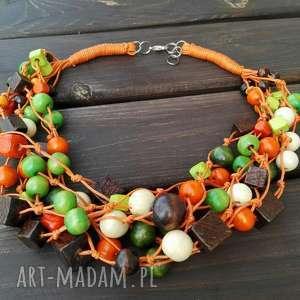 Naszyjnik pomarańczowy, korale, drewno, naszyjnik, kolorowy, sznurek, kolia