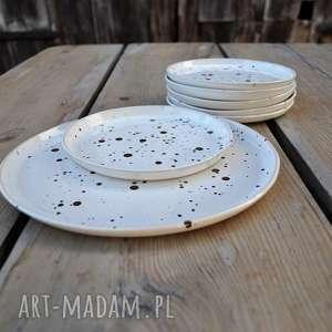 zestaw talerzy - talerz deserowy 6 plus 1, ceramika, kuchnia, zestaw, talerze