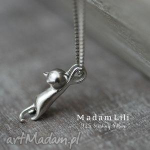 925 srebrny łańcuszek kotek - kokt, kotek, naszyjnik, srebro, elegancja, prezent