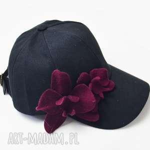 czapka ze storczykami, storczyki, filc, czarny
