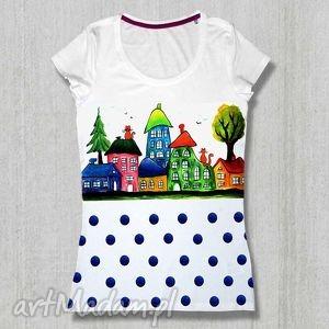 ręcznie malowana bluzka z bawełny domki i groszki, wesoła koszulka, malowana