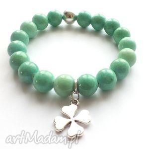 bransoleta mint jade clover, koniczyna, koniczynka, jadeity, zawieszka, charms