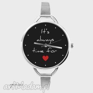zegarek - it is always time for love czarny, bransoletka, zegarek, serce, miłość