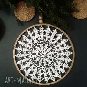 dekoracje łapacz snów 37 cm, snow, łapacz, koronka, koło, dekoracja