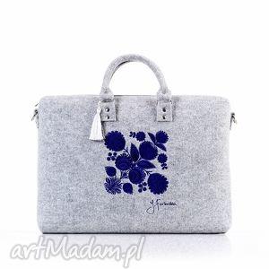na laptopa torba filcowa kwiat łowicki 410, filcowa, pojemna, modna, haftowana