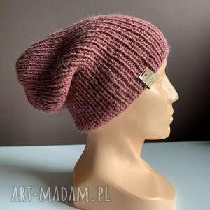 handmade czapki ręcznie robiona czapka hand made ściągacz 100% alpaka stary