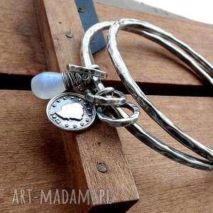 zestaw 2 bransolet - srebro kamień księżycowy, oksydowane srebro