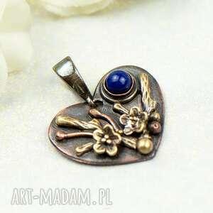 wisiorki miedziany wisiorek serce z lapis lazuli c855-4, serce