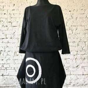 sukienki sukienka z mandalą, etno, asymetryczna, boho, maxi, czarna