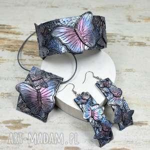 Prezent Duży, oryginalny komplet biżuterii z motylami, biżuteria-motyle