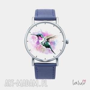 zegarek z grafiką koliber, prezent, kwiat, nektar, ptak, egzotyczny, kolorowy