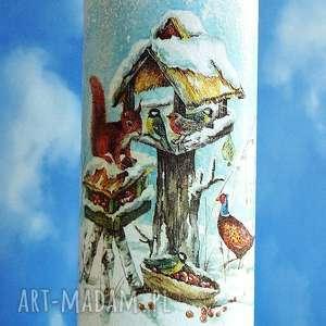 zima dekoracyjna szklana butelka - święta, decoupage, dekoracja