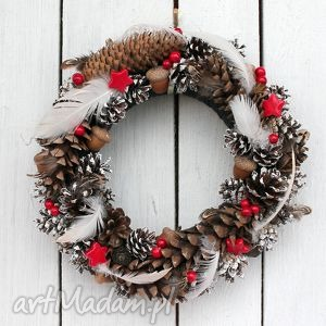 wianek świąteczny z piórkami, wianek, święta, drzwi, szyszki, żołędzie, ozdoba