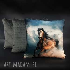 handmade poduszki komplet poduszek welur koń szarość 45x45cm