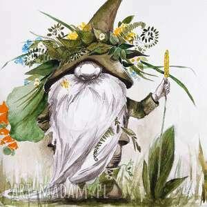 sobótkowy skrzat akwarela artystki adriany laube - obraz na papierze a3, sobótka