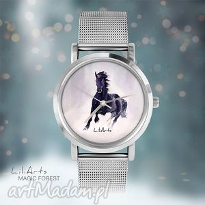 zegarek, bransoletka - czarny koń - magic forest - zegarek, koń, bransoletka