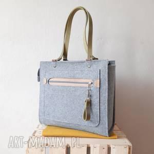 duża pojemna torebka catoolabel #350, torba, pojemna, z filcu, skóry naturalnej