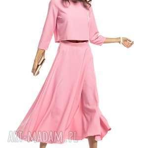 bluzki bluzka w stylu topu z rękawem 3/4, t286, różowy, bluzka, top, możliwość
