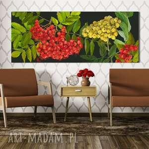 nowoczesny obraz do salonu drukowany na płótnie - kolorowa jarzębina drzewo
