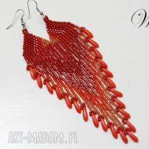 kolczyki koralikowe w odcieniach czerwieni, kolczyki, koralikowe, długie
