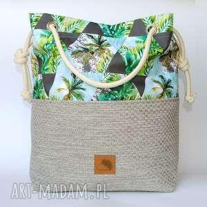 Torebka worek palmy rączki ze sznurka , torebka, wakacyjna, plażowa, letnia