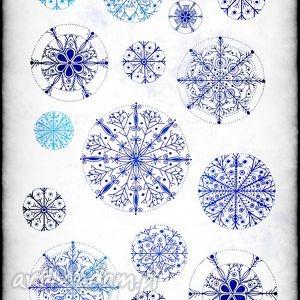 zestaw 5 świątecznych karteczek, śnieg, zima, święta, kartka, śnieżynki