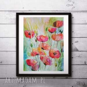 Akwarela - Maki 18/24 cm, abstrakcja, akwarela, kwiaty, maki, farba, łąka