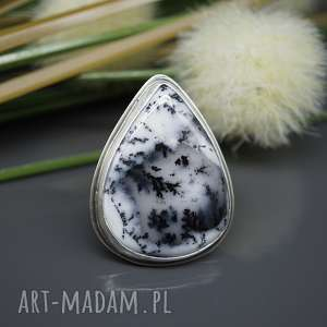 Agat dendrytowy - pierścionek Zimowy las , pierścionek, agat-dendrytowy, srebrny