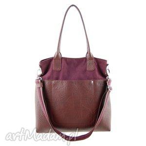 Fiella - duża torba bordo i burgund incat shopper, modna