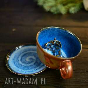 ceramiczna filiżanka z figurką konia - niebiesko miedziana na prezent