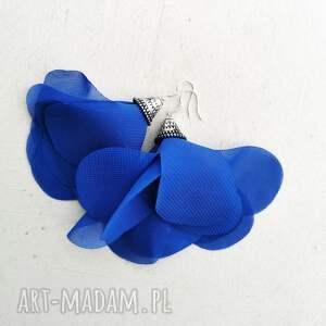 kolczyki kwiaty z tkaniny chabrowe kol 8, tkaniny