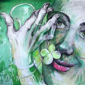 Pi art rysunek, oryginał, czterolistna, szczęście, zieleń,
