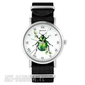 zegarki zegarek - zielony żuczek czarny, nylonowy, zegarek, nylonowy pasek