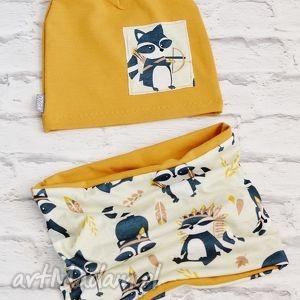 komplet czapka i komin; szop - bawełna, chłopca, dziewczynki