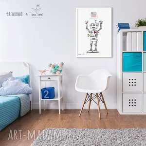 timosimo autorski plakat w stylu skandynawskim robot, pokódziecka