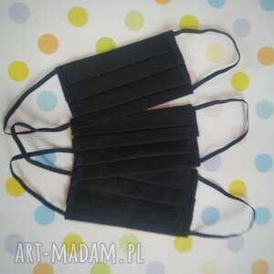 akukuuu maseczki bawełniane pakiet 3 sztuk czarne, maseczki, maski, czarna
