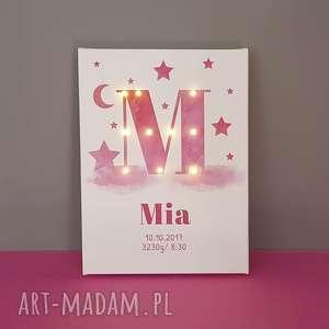 pokoik dziecka świecąca litera led personalizowany obraz pastelowa metryczka