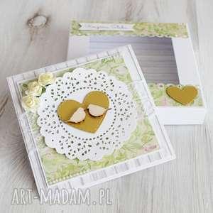 autorskie scrapbooking kartki kartka w pudełku na ślub lub rocznicę