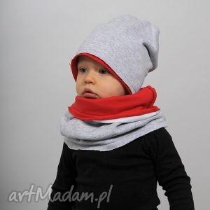 czapka zimowa szaro-czerwona, bawełna, zima, czapka, szara, czerwona, podwójna dla